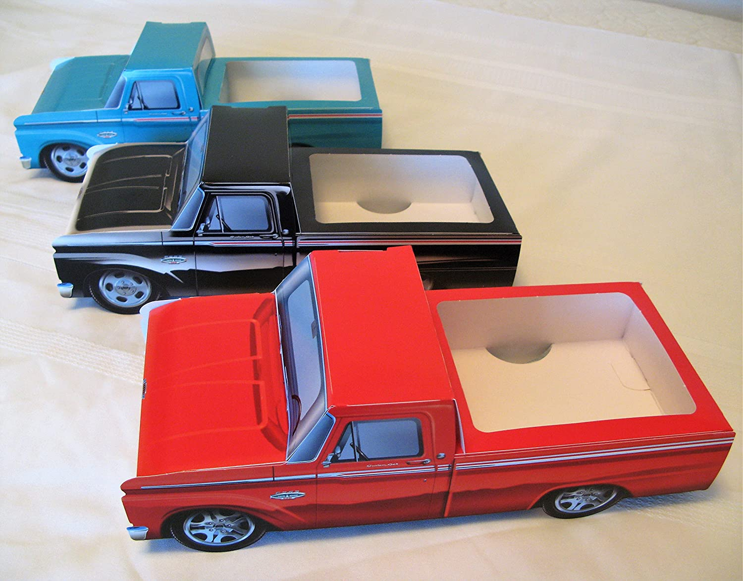 9 Classic Cardboard Ford Trucks Kids Food Box Tray