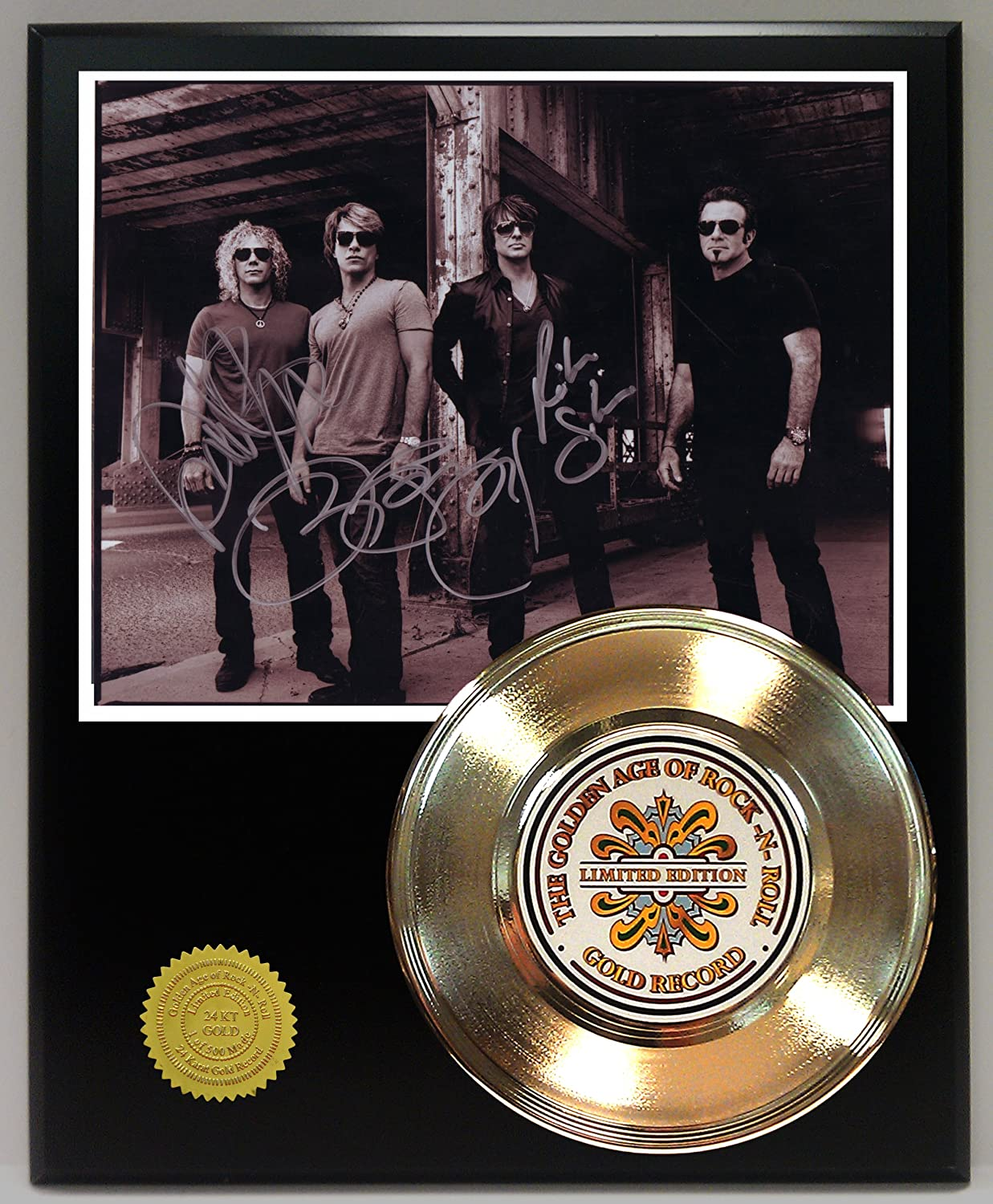 Bon Jovi 24Kt Gold Record Signature Series LTD Edition Display Gold Record Outlet