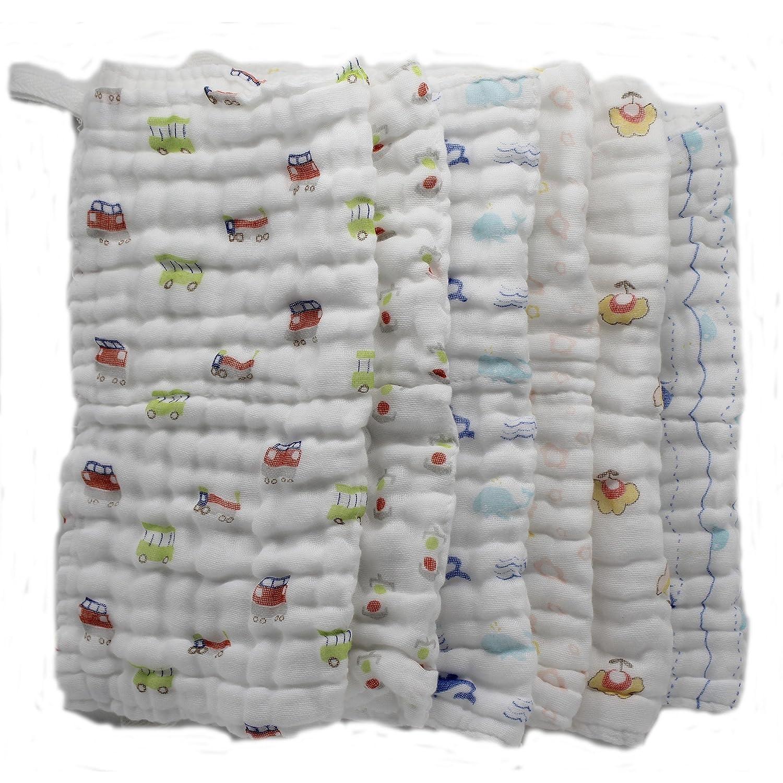 Lucear 6 pack Bebé Toallita Recién Nacidos Muselina Toalla Facial Toallitas de 100% Algodón para Alimentación Lactancia Limpie Mano Rostro: Amazon.es: Bebé