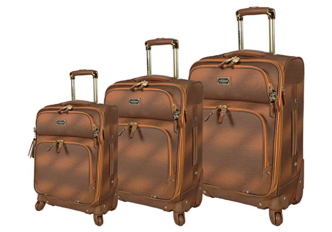 Steve Madden Luggage 3 Piece Softside Spinner Suitcase Set Collection (One  Size, Shadow Brown