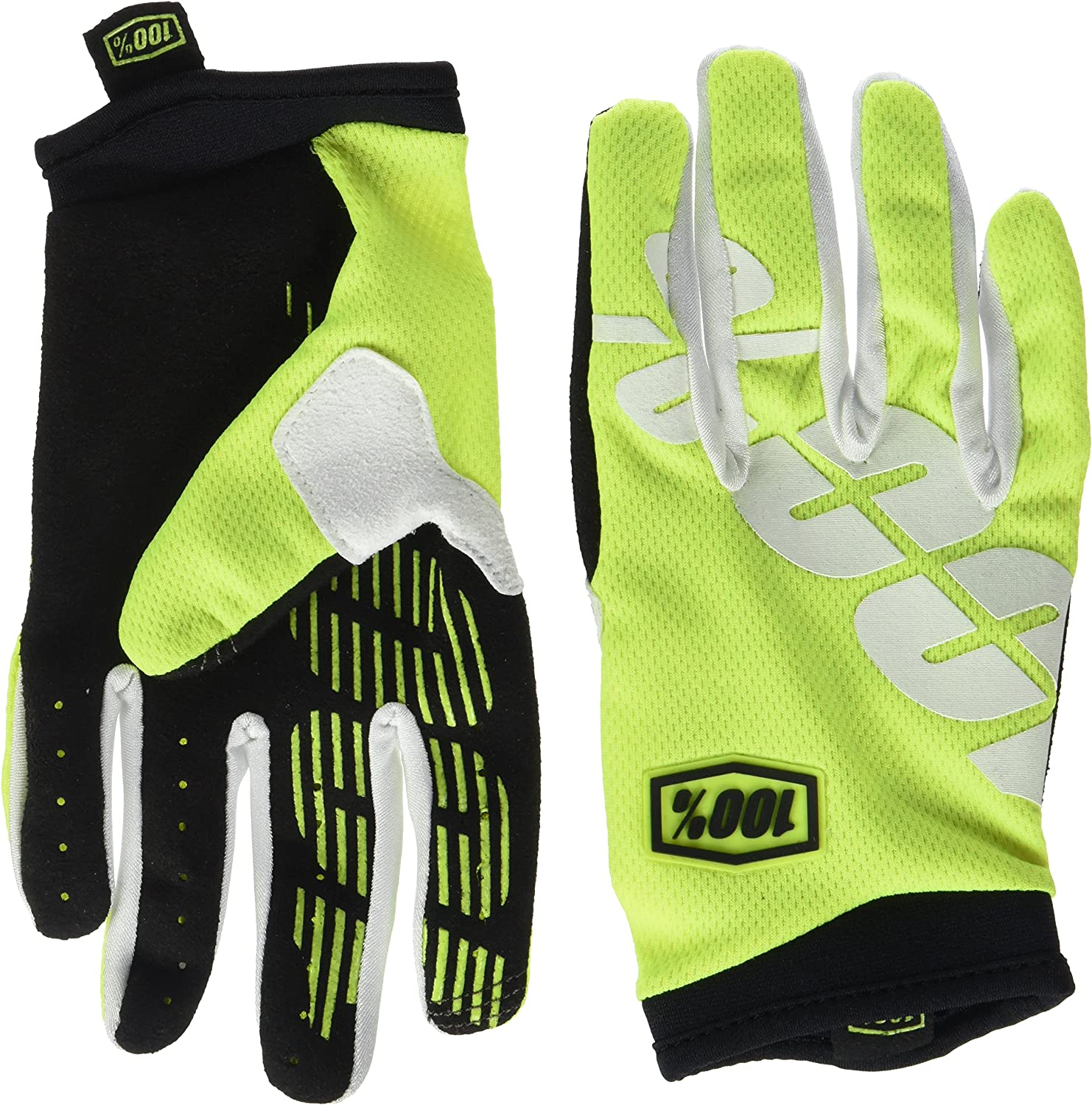 Motorcycle Leather Gloves with Protectors Neon Yellow//Green White Size S to