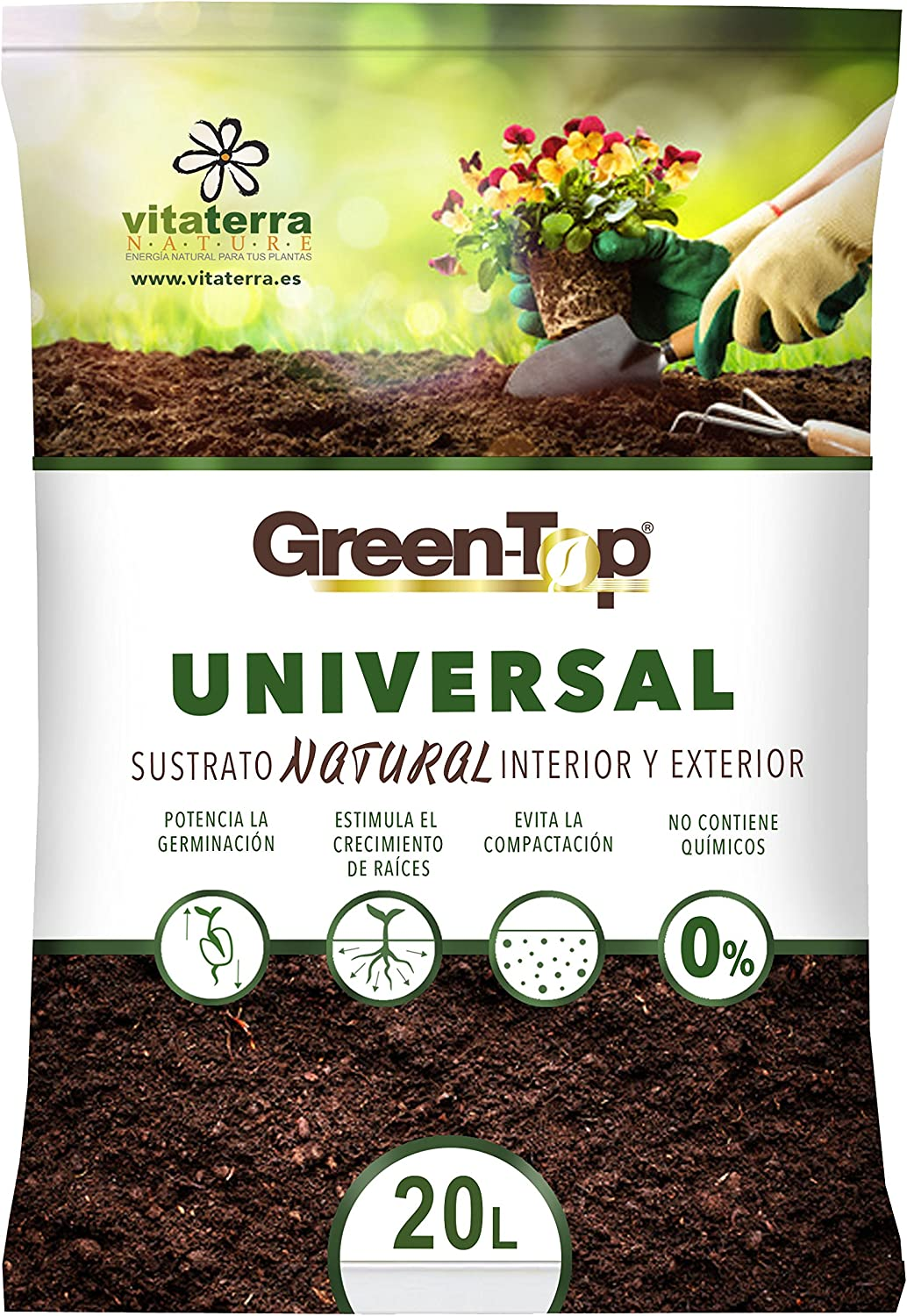 Vitaterra Sustrato Universal Natural 20 l, 10120: Amazon.es: Jardín