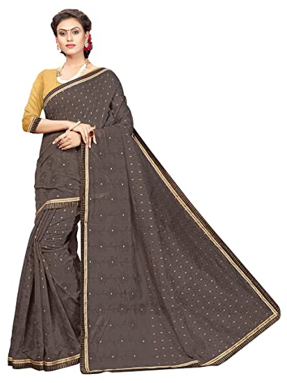 9d117c2b3 Vastrang Sarees Women s Chanderi Cotton Printed Saree With Lace Border    Blouse