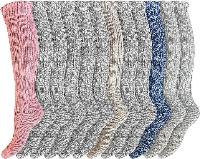 6 Pack Womens Luxury LONG Length Soft Wool Thermal Socks UK 4-7 EU 37-42