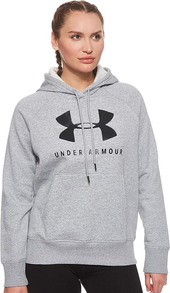 Under Armour Women's Rival Fleece Sportstyle Graphic Hoodie, Steel Medium Heather (035)/Black, Medium