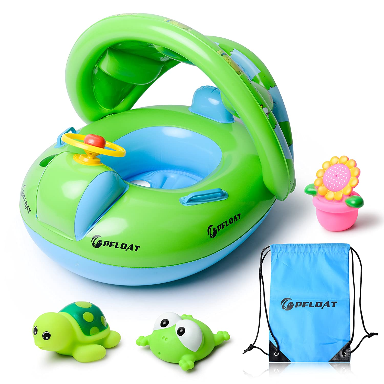 PFLOAT [2018 Upgraded Design] Baby Pool Float With Sun Canopy,Inflatable Boat Swimming Float With Large Valves-3 Bath Toys&Carry Bag