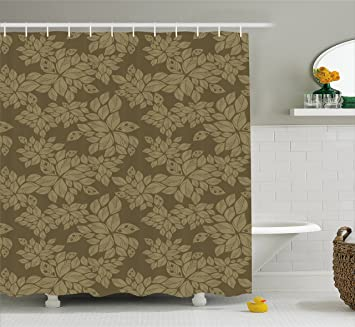 Lunarable Khaki Shower Curtain By, Nostalgic Nature Inspired Forest Garden  Foliage Pattern With Green Leaves