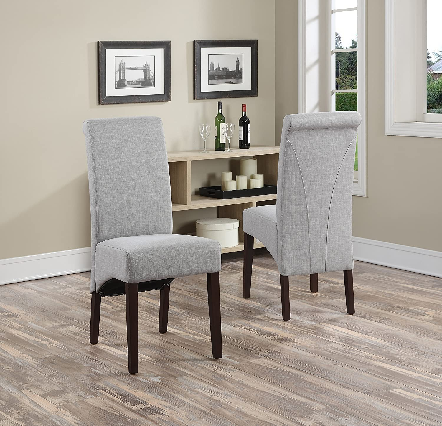 Amazon Simpli Home Avalon Linen Deluxe Parson Chair Dove Grey Set Of 2 Kitchen Dining