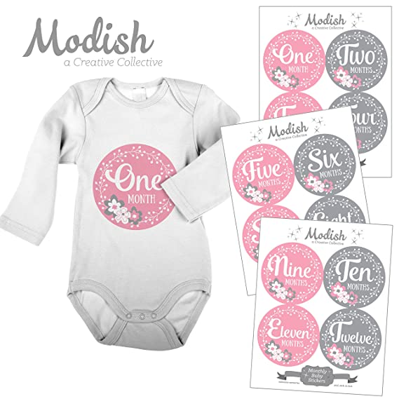 Baby Monthly Milestone Growth Stickers Wide Navy Rugby Preppy Stripes with Pink Nursery MS121 Baby Boy Girl Shower Gift Baby Photo Prop