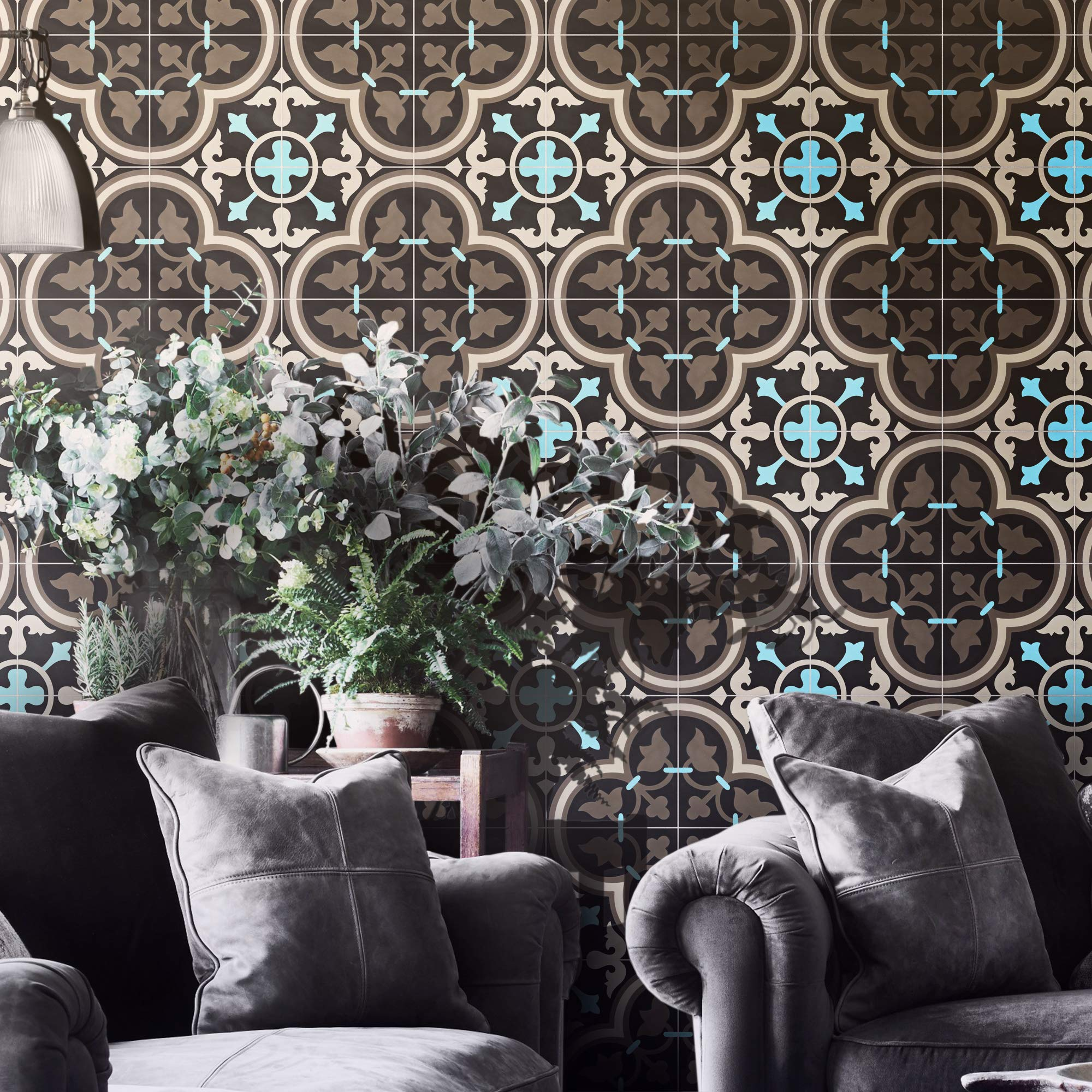 Moroccan Mosaic & Tile House CTP33-05 Casa Handmade Cement Tile, 8''X8'', Brown/Black/Blue