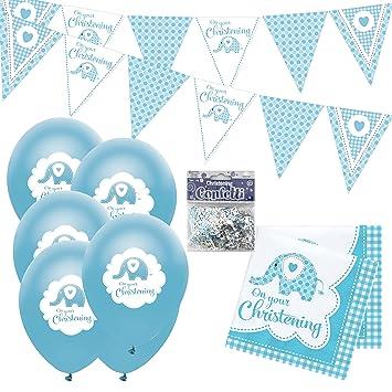 Christening Decorations Boy Kit Christening Bunting Balloons