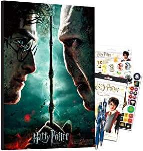 Harry Potter Poster Print Wall Art Bundle ~ Harry Potter and the Deathly Hallows Part 2 Mounted Print Poster with Stickers, Tattoos, and Pens (Harry Potter Room Decorations Office School Supplies)