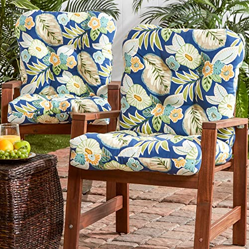 South Pine Porch AM6815S2-MARLOW Marlow Blue Floral Outdoor Seat Back Chair Cushion, Set of 2