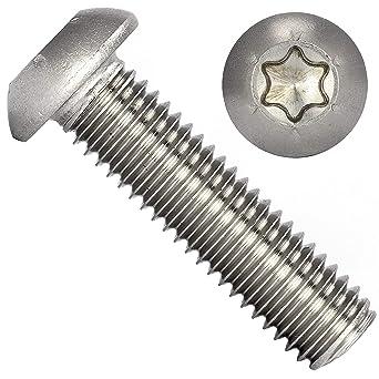 AG-BOX/® tornillos de brida TX Tornillos de cabeza alomada con brida Torx M3 x 3 rosca completa V2A 10 unidades ISO 7380 de acero inoxidable A2