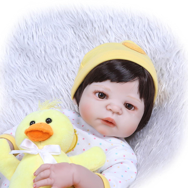 最新デザインの iCradle ブラック 23インチ 57cm リボーンドール シリコン製 フルボディ ブラック ソフトビニール シリコン製 新生児人形 洗濯可能 解剖学的に正しい新生児 赤ちゃん クリスマス プレゼント ファッション おもちゃ 22