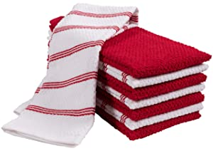 KAF Home Pantry Piedmont Kitchen Towels (Two Sets of 4), Absorbent Cotton Terry Cloth Towels (Cherry, Kitchen Towel 16x26)