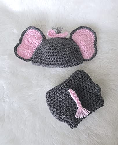 Amazoncom Elephant Baby Stuff Hat Diaper Cover Gift Set Grey And