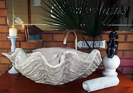 Giant Clam Shell Bathroom Sink Wash Basin Countertop Hand