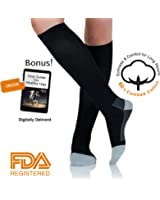 Knee High Compression Socks for Men & Women by AprilTex. Helps Blood Clots, Plantar Fasciitis, Pain, Swollen Feet & Varicose Veins. Long Hours Support Hose - Pregnancy, Travel, Flight, Nurse & More