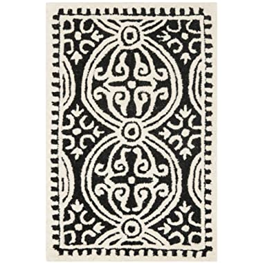 Safavieh Cambridge Collection CAM123E Handcrafted Moroccan Geometric Black and Ivory Premium Wool Area Rug (2' x 3')