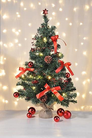 Geschmückter Künstlicher Weihnachtsbaum Mit Lichterkette.Bambelaa Künstlicher Weihnachtsbaum Christbaum 75cm Komplett Geschmückt Dekoriert Mit Kugeln Sternen Tannezapfen Schleifen Girlande 20er Led
