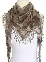 Women Lightweight Flower Lace Silk Scarf Knit Oblong Cotton Fringe Scarf for Women