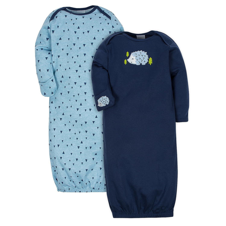Gerber Baby Boys 2-Pack Gown Hedgehog 0-6 Months 14661216AB0206I