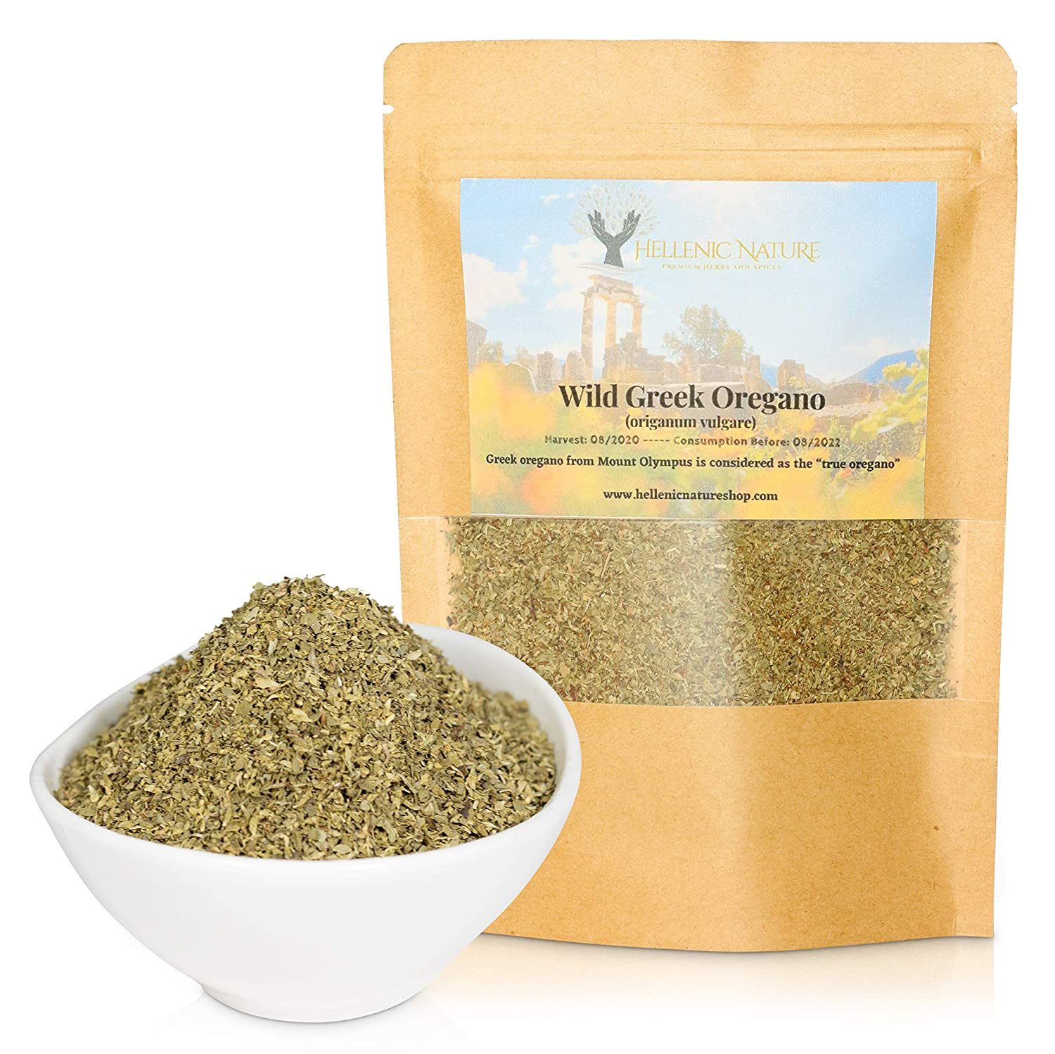 WILD GREEK OREGANO DRIED PREMIUM QUALITY- from Mount Olympus Handpicked and Air-Dried (origanum vulgare) 40g (1.41oz) in DoyPack with ZipLock for Awesome Freshness and Aroma - Mediterranean Seasoning
