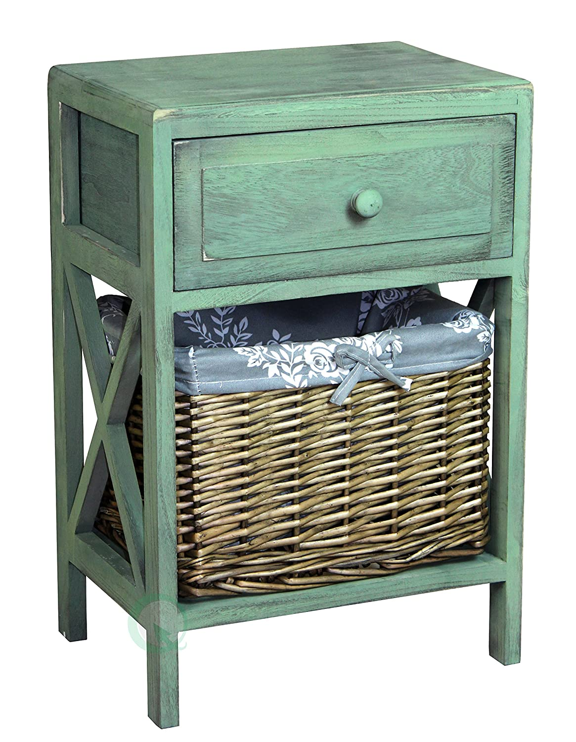 Vintiquewise(TM) Distressed Washed Cabinet Chest with Drawer and Basket Bin
