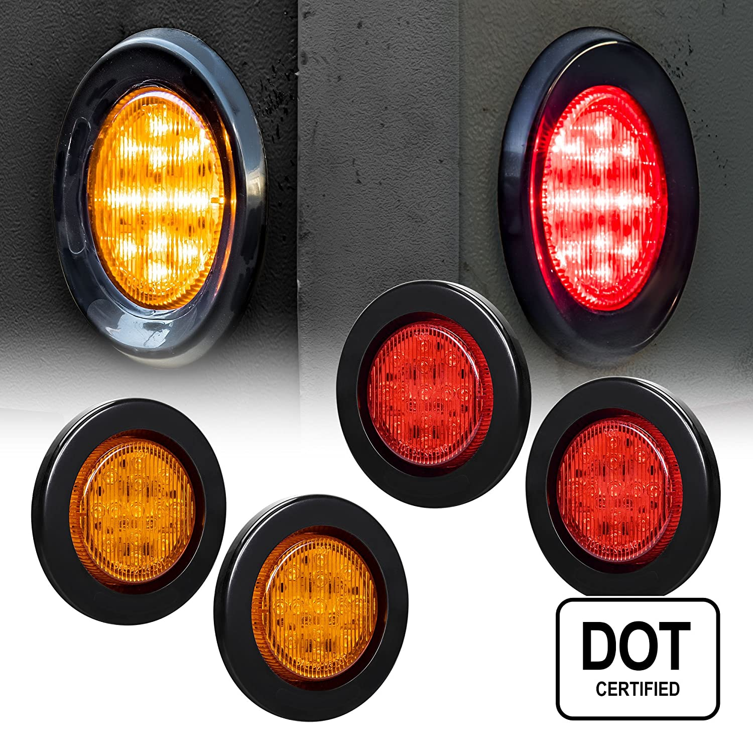 2 PC 2.5' Round LED Light Side Marker- Two in One Reflector Light [Polycarbonate Reflector] [13 LEDs] [Rubber Grommet] [IP 67] for Trailers - 1 Red and 1 Amber ONLINE LED STORE