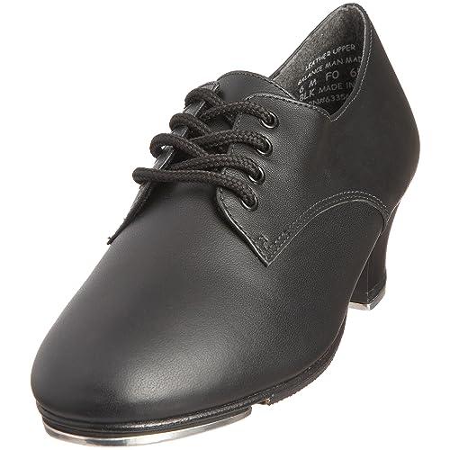 Capezio - Zapatos de cordones de cuero unisex, Negro (Black), 38 EU