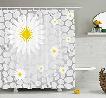 Grey And Yellow Shower Curtain By Ambesonne Hawaiian Island Flowers On Abstract Animal Print Theme