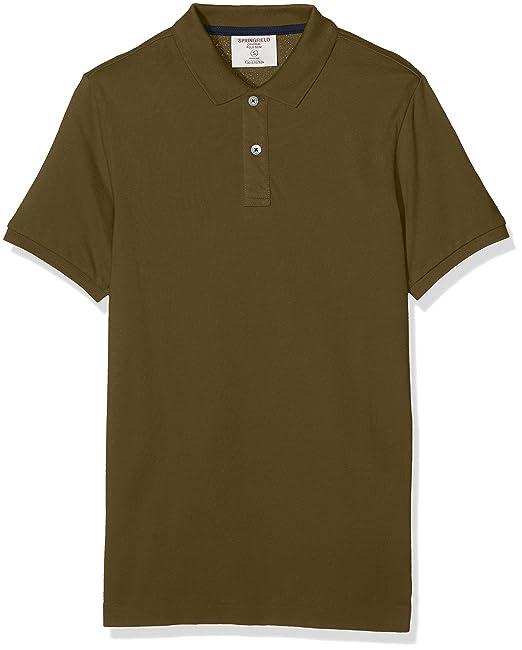 Springfield BA JUL Polo Slim Solid, Greens (25), S para Hombre ...