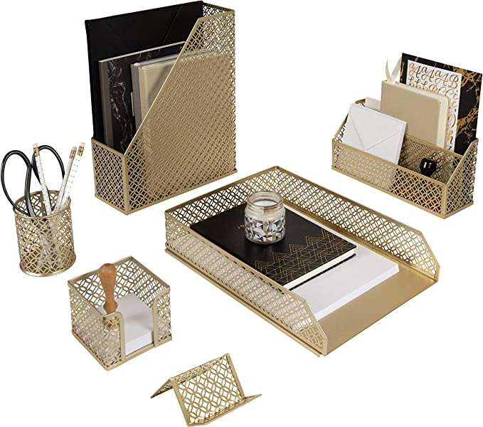 Blu Monaco 6 Piece Cute Gold Desk Organizer Set Desk Organizers And Accessories For Women Cute Office Gold Desk Accessories Desktop Organization Amazon Ca Office Products