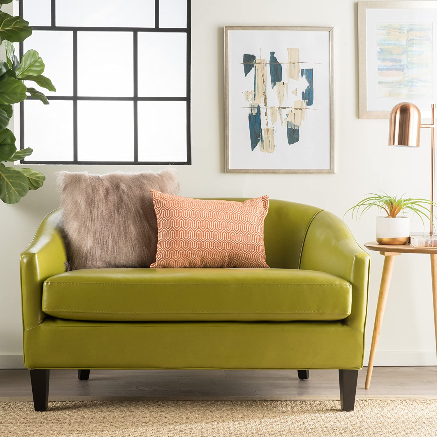 modshop crescent art hunter petite products deco loveseat sofa green with pillows
