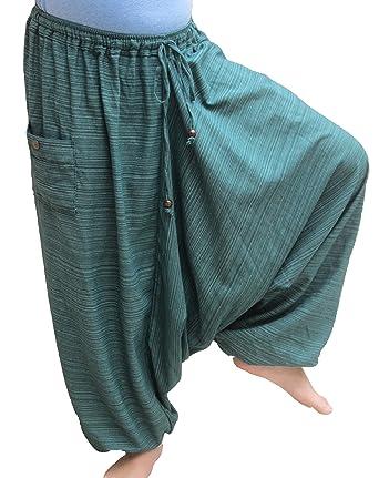 Wynnthaishop100% Cotton Baggy Boho Aladin Yoga Harem Pants (S-XL for Waist for 26