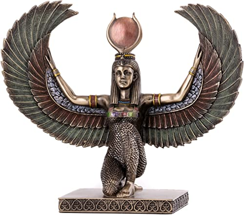 Top Collection Egyptian Winged Isis Statue – Egypt Goddess of Magic, Medicine, and Fertility Sculpture in Premium Cold Cast Bronze- 7.75-Inch Mother of Horus and Wife of Osiris Figurine
