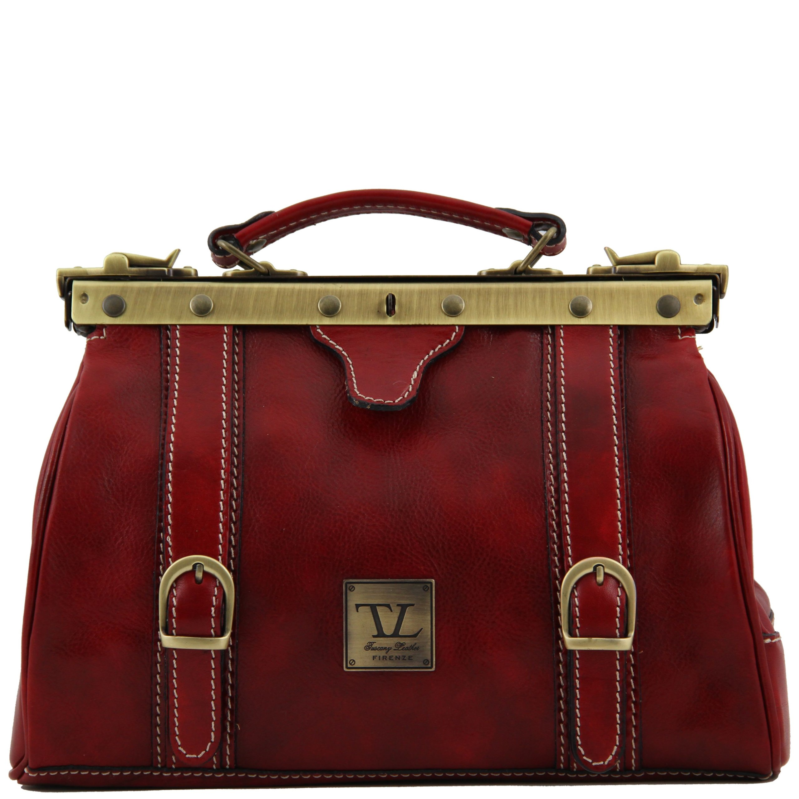 Tuscany Leather Monalisa Doctor gladstone leather bag with front straps Red by Tuscany Leather (Image #1)