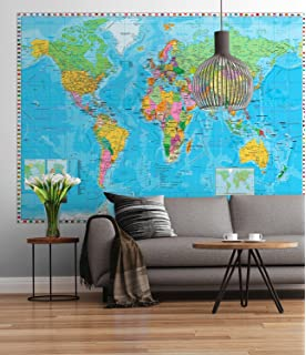 1 wall modern educational blue world map wallpaper mural wood blue sunny decor sd055 world map photomural gumiabroncs Gallery