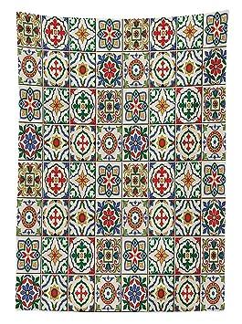 Yeuss Marocain Nappe Par Motif, ColoršŠ, Azulejo Portugais Ornementales  Abstrait Arrangements Floraux Feuilles,