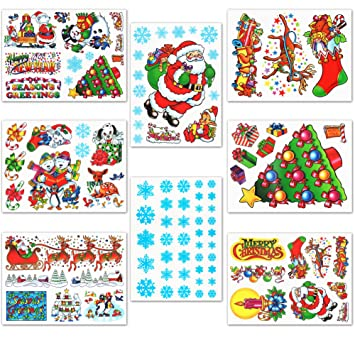 Amazoncom Christmas Window Clings Decals Home  Kitchen - Snowflake window stickers amazon