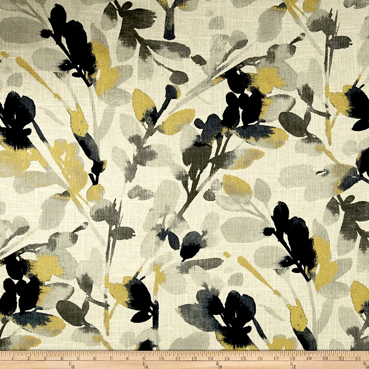 Waverly Leaf Storm Linen Graphite, Fabric by the Yard