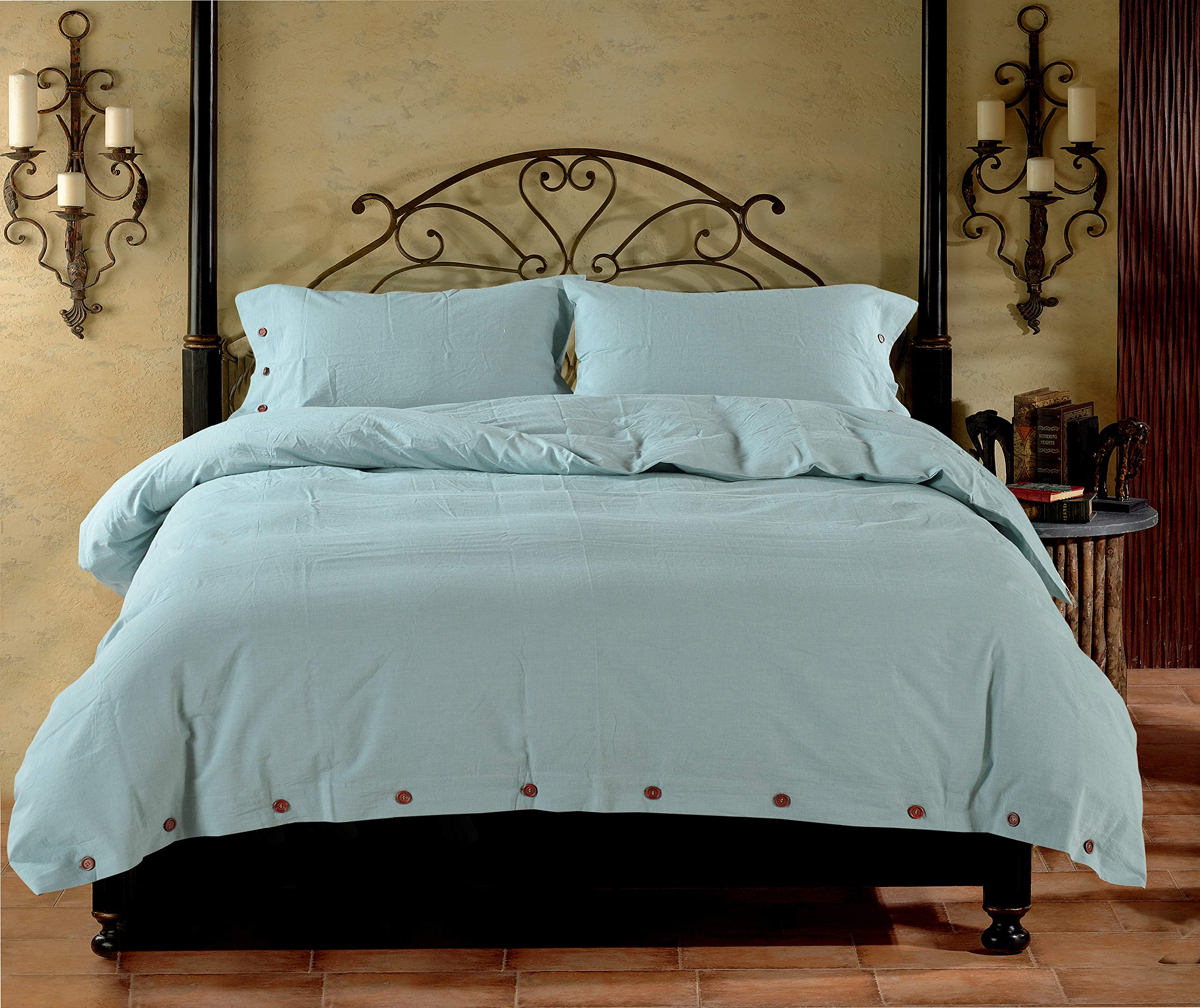 YU HAO CHEN Natural washed cotton duvet cover king,3pc Duvet Cover Set, Comforter Sets extremely durable & easy care (KING,Spa Blue) by YU HAO CHEN (Image #1)