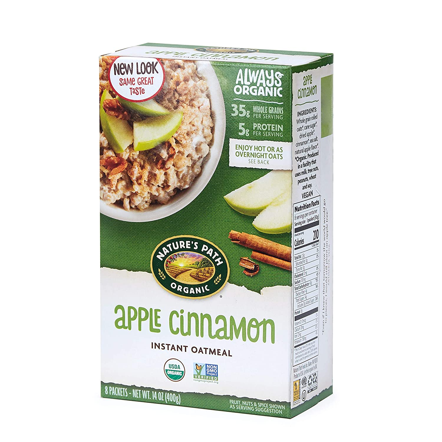 Nature's Path Apple Cinnamon Instant Oatmeal, Healthy, Organic, 8 Pouches per Box, 14 Ounces (Pack of 6)