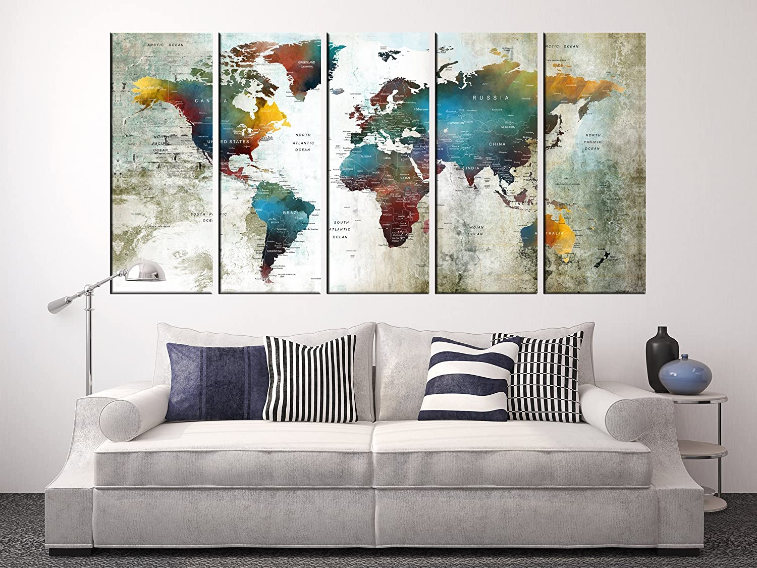 Amazon com world map canvas print large wall art for living room push pin world travel map wall decor detailed world map multipanel 5 pieces hr93
