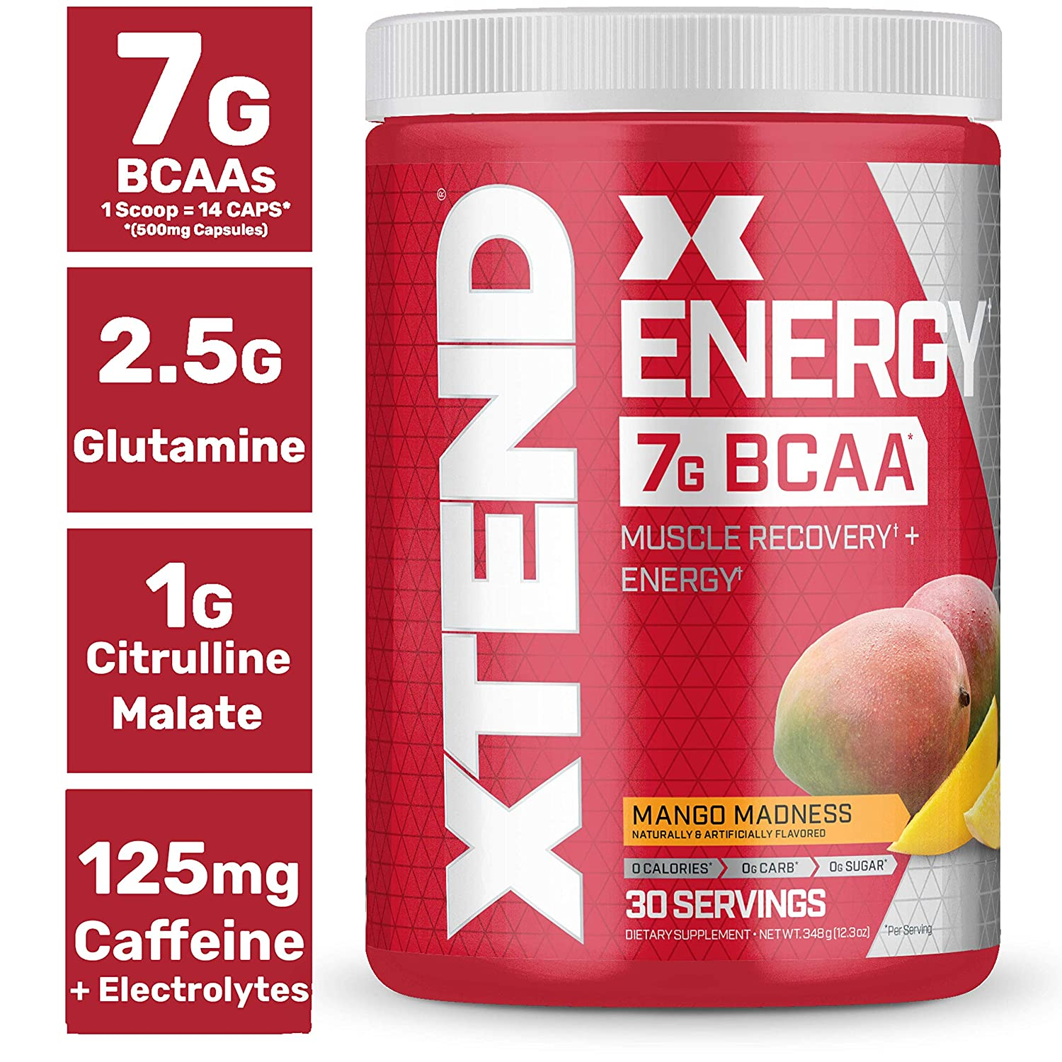 Xtend Energy Bcaa Powder Mango 125mg Caffeine Sugar Free Pre Workout Muscle Recovery Drink with Amino Acids 7g bcaas for Men Women 30 Servings Packaging May Vary