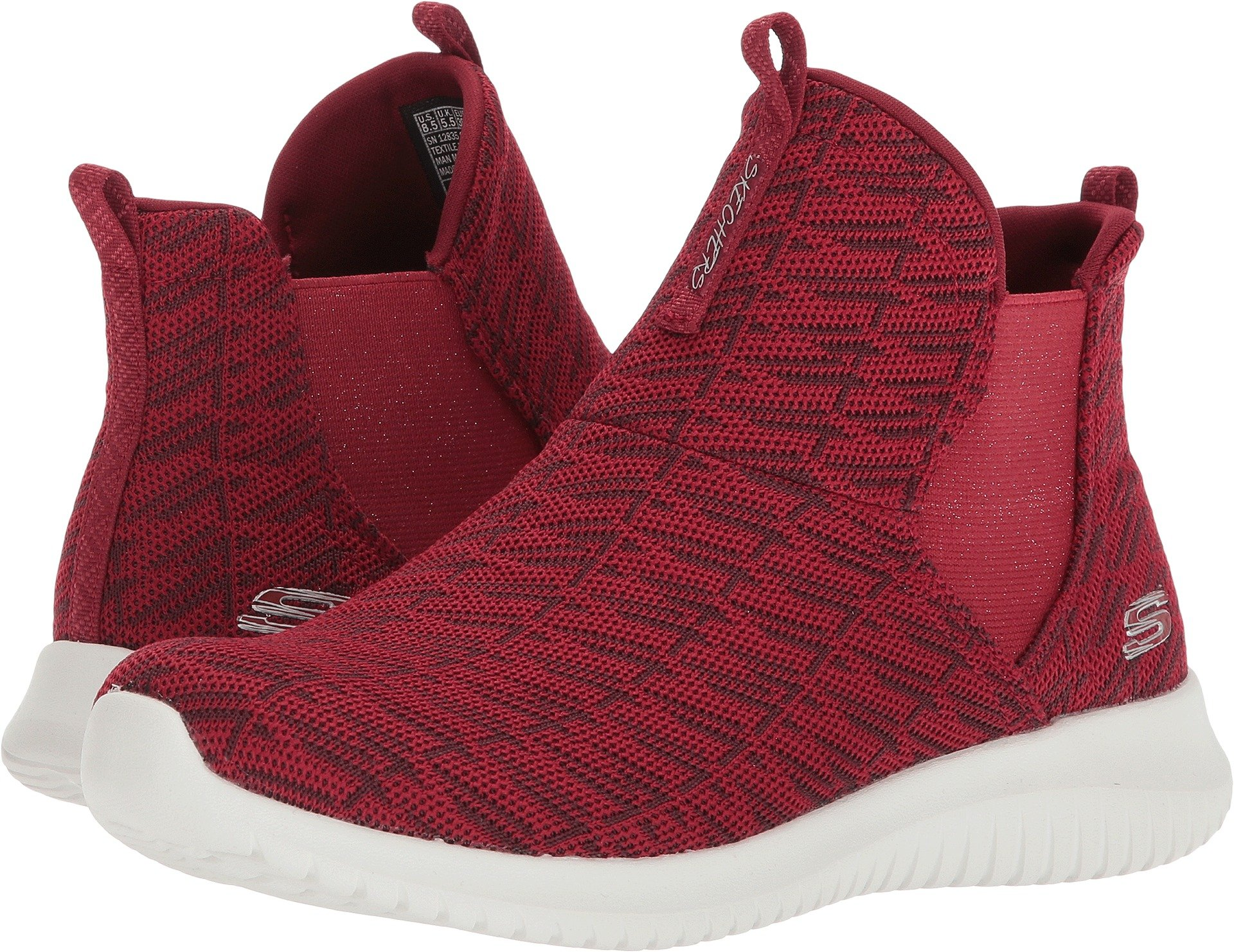 Skechers Women's Ultra Flex High Rise Pull On Fashion Sneaker Shoes Red Size 8.5 by Skechers (Image #1)