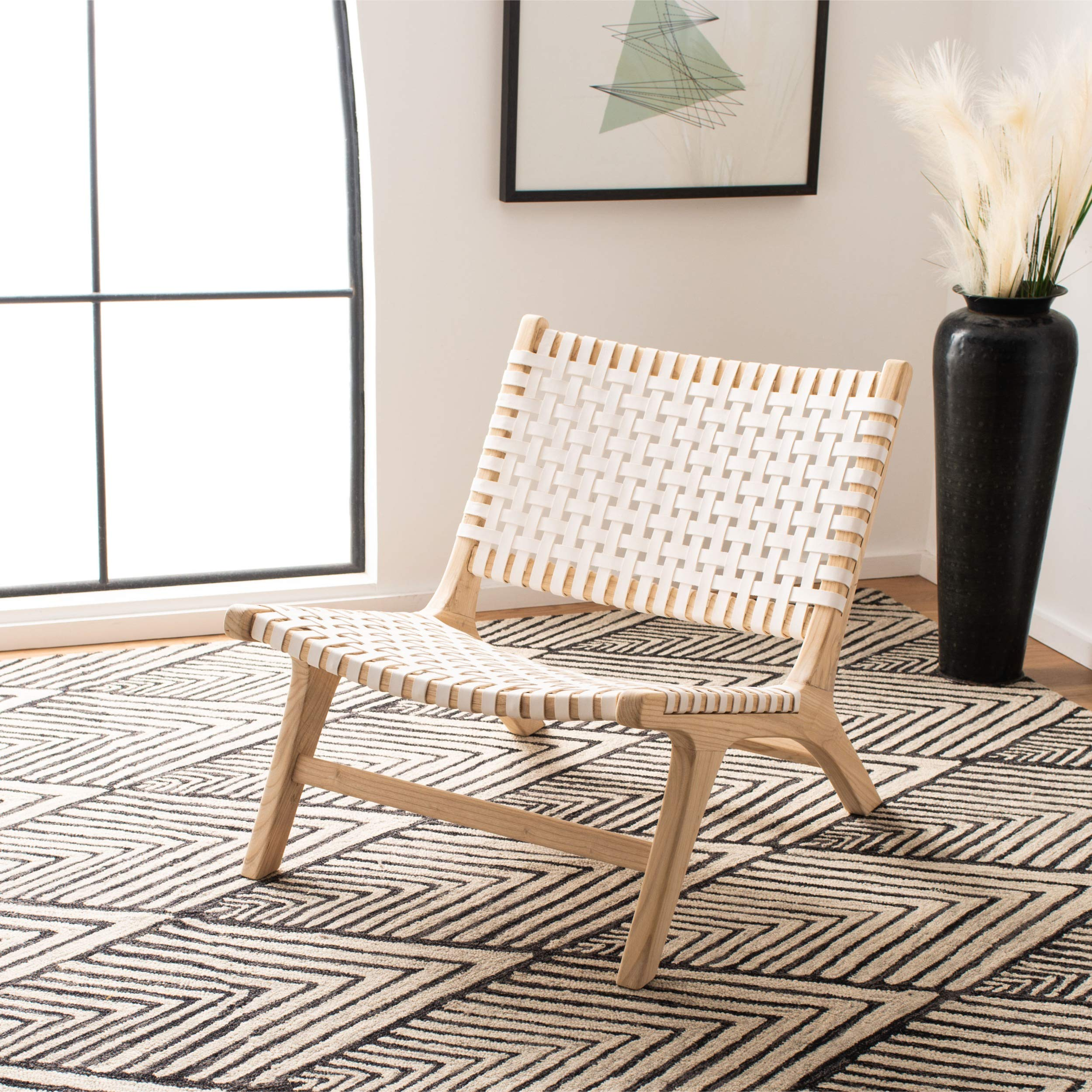 Safavieh Home Luna Natural and White Leather Woven Accent Chair, by Safavieh