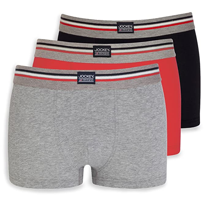 Jockey 3-Pack Cotton Stretch Mens Boxer Trunks, Grey/Red/Navy Large: Amazon.es: Ropa y accesorios