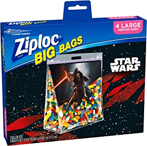 Ziploc Storage Bags, Double Zipper Seal & Expandable Bottom, Large, 4 Count, Big Bag- Featuring Star Wars Design